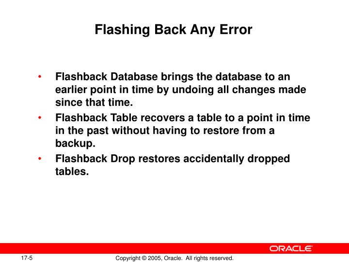 Flashing Back Any Error