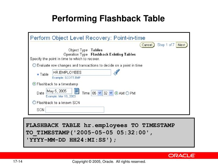 Performing Flashback Table