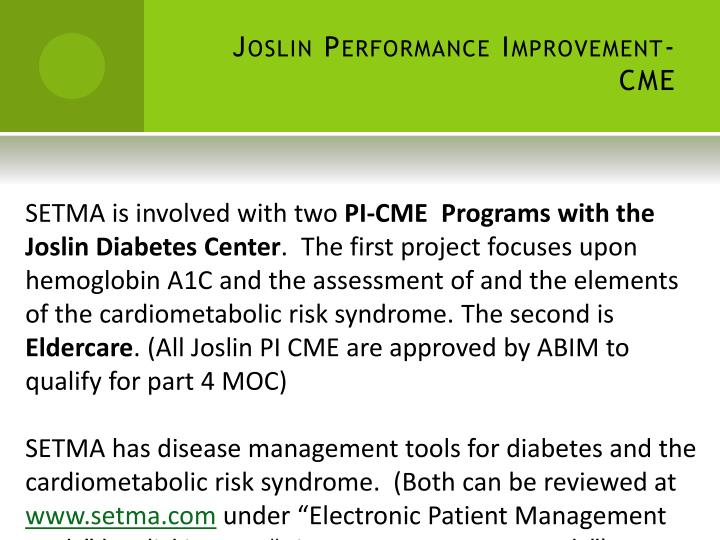 Joslin Performance Improvement-CME