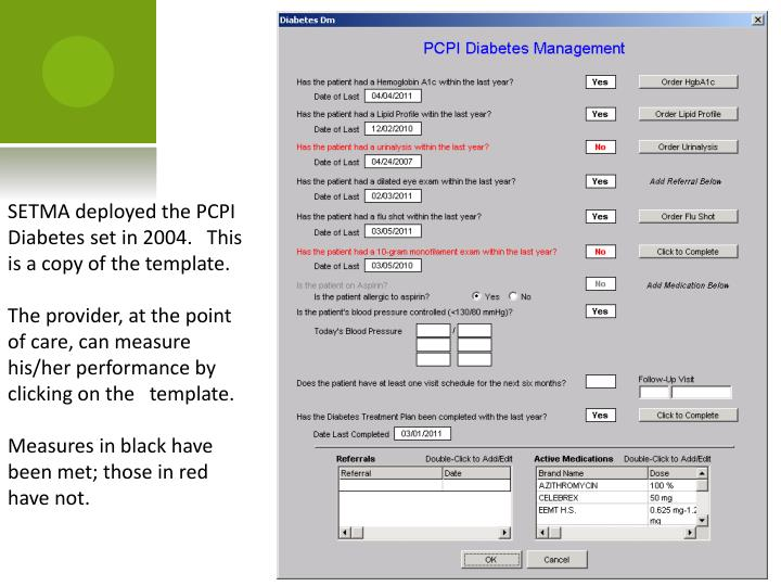 SETMA deployed the PCPI Diabetes set in 2004.   This is a copy of the template.