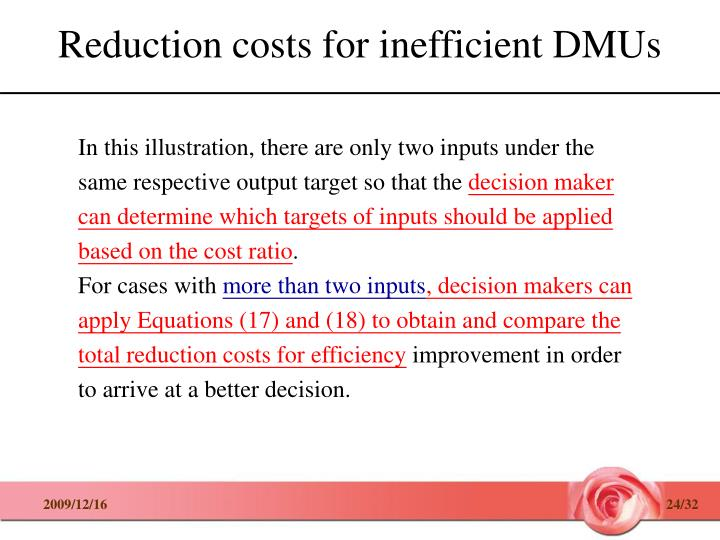 Reduction costs for inefficient DMUs