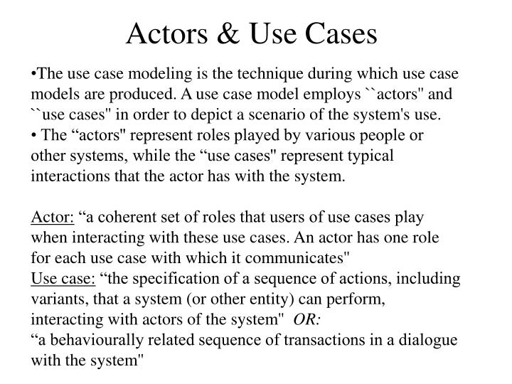 Actors & Use Cases