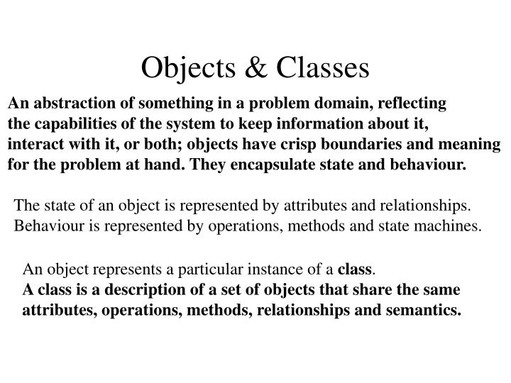 Objects & Classes
