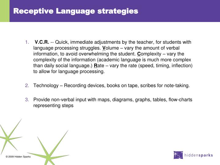 Receptive Language strategies