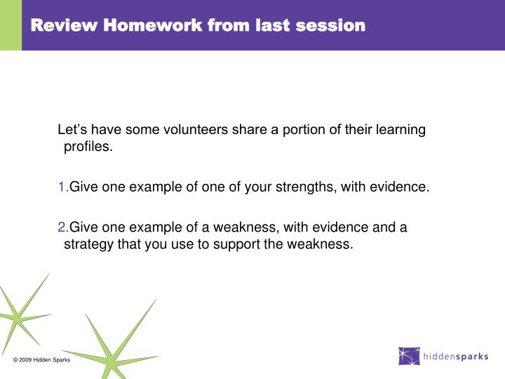 Review Homework from last session