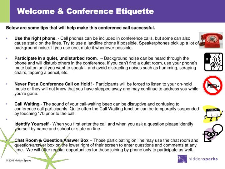 Welcome conference etiquette