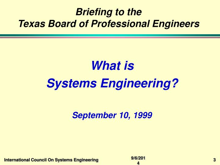 Briefing to the texas board of professional engineers