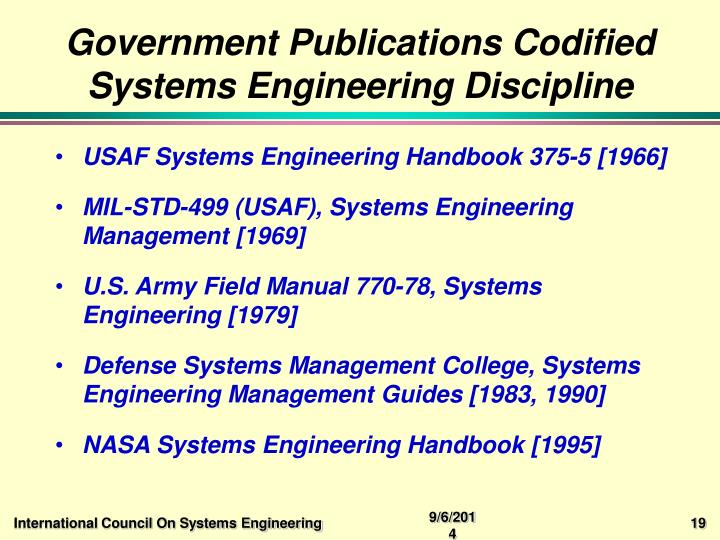 Government Publications Codified Systems Engineering Discipline