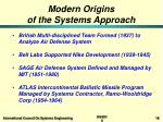 modern origins of the systems approach