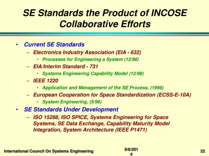 SE Standards the Product of INCOSE Collaborative Efforts