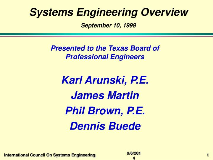 Systems engineering overview september 10 1999