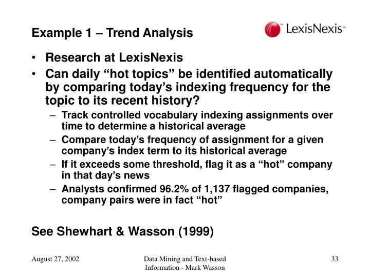 Example 1 – Trend Analysis