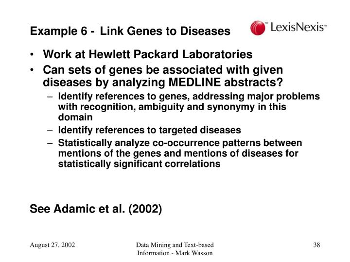 Example 6 - Link Genes to Diseases
