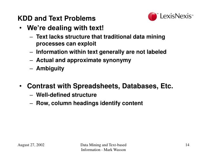KDD and Text Problems