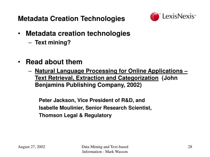 Metadata Creation Technologies