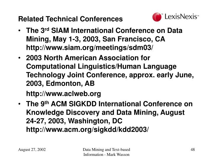 Related Technical Conferences