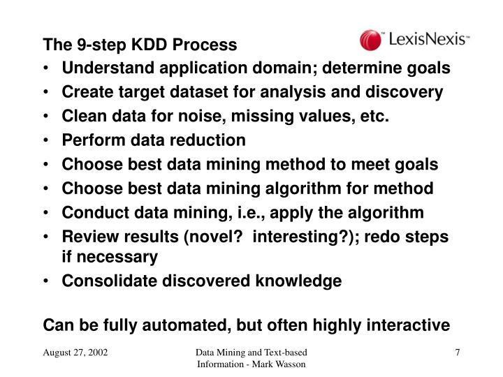 The 9-step KDD Process