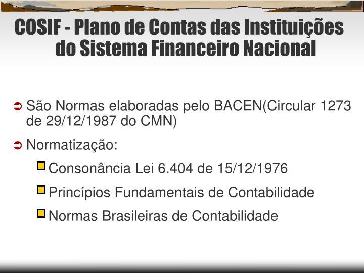 COSIF - Plano de Contas das Instituições do Sistema Financeiro Nacional