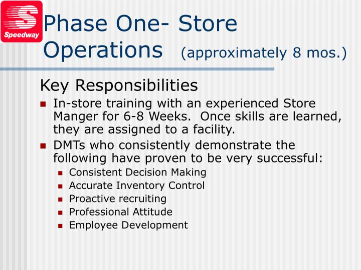 Phase One- Store Operations