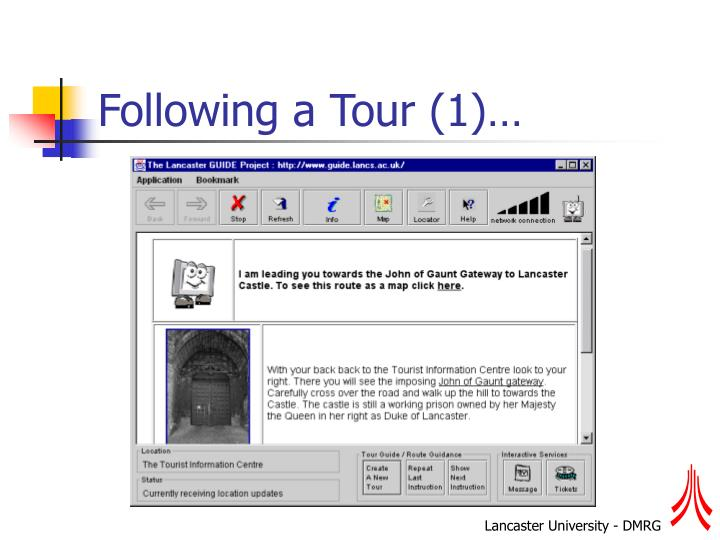 Following a Tour (1)…
