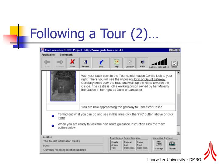 Following a Tour (2)…