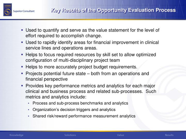 Key Results of the Opportunity Evaluation Process