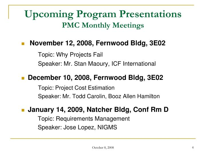 Upcoming Program Presentations