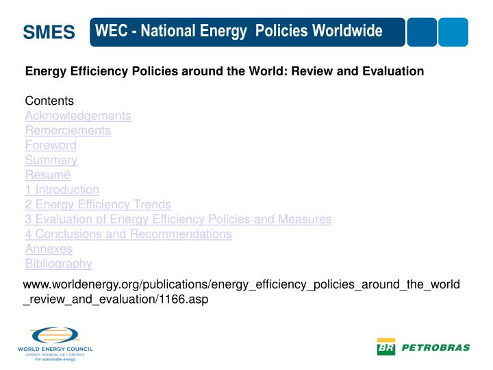 WEC - National Energy  Policies Worldwide