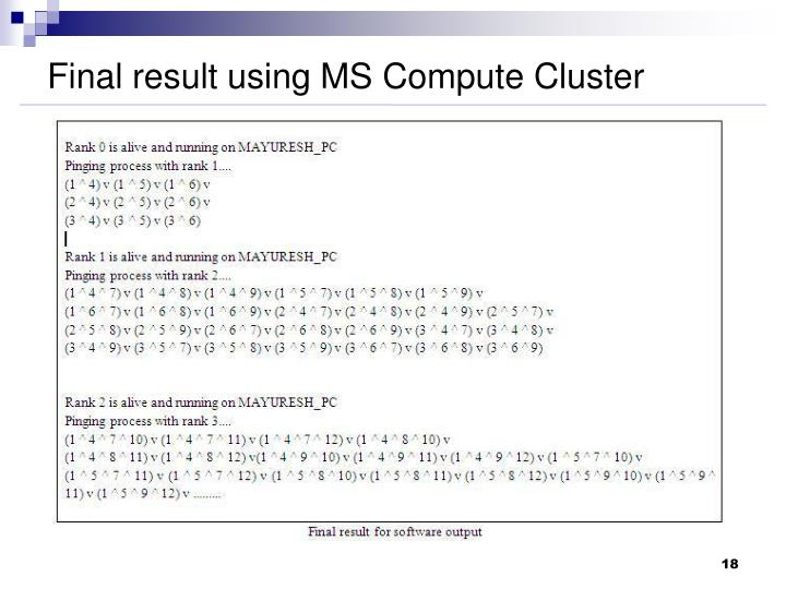 Final result using MS Compute Cluster