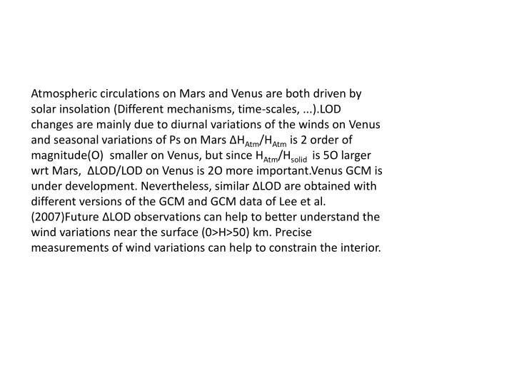 Atmospheric circulations on Mars and Venus are both driven by solar