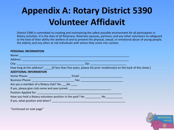 Appendix A: Rotary District 5390 Volunteer Affidavit