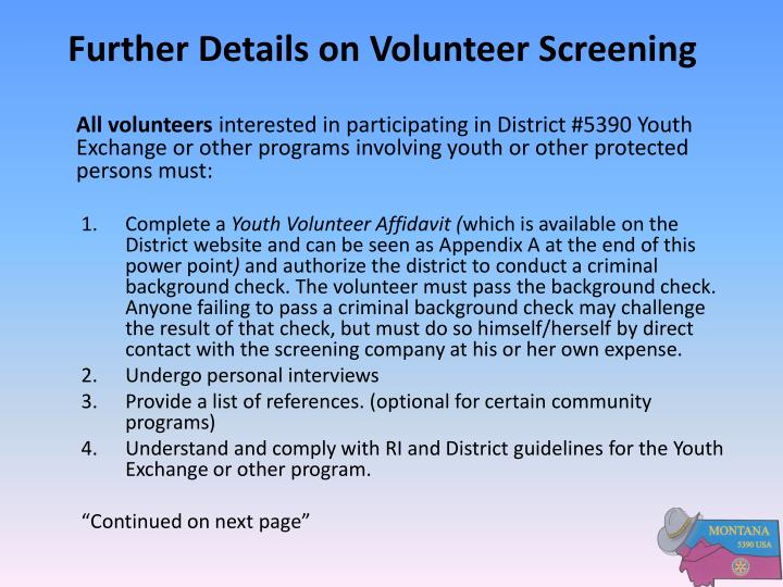 Further Details on Volunteer Screening