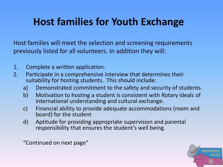 Host families for Youth Exchange