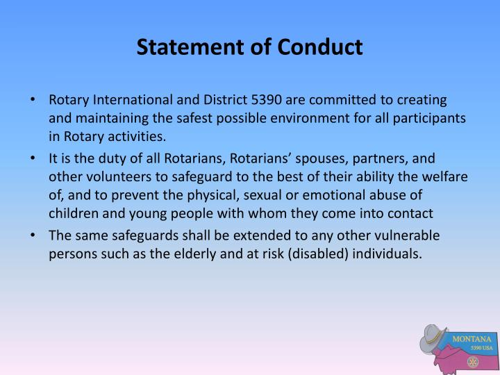 Statement of conduct