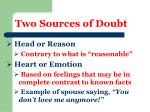 two sources of doubt