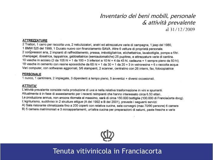 Inventario dei beni mobili, personale & attività prevalente