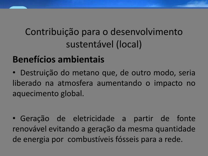 Contribuição para o desenvolvimento sustentável (local)