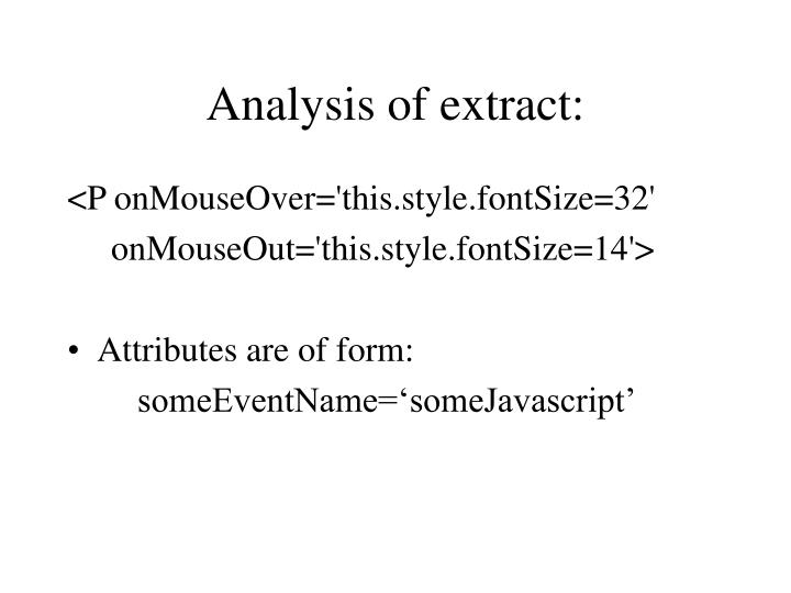 Analysis of extract: