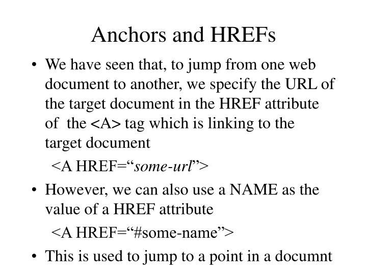 Anchors and HREFs