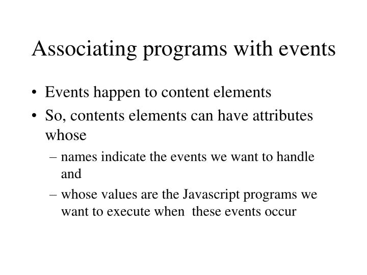Associating programs with events