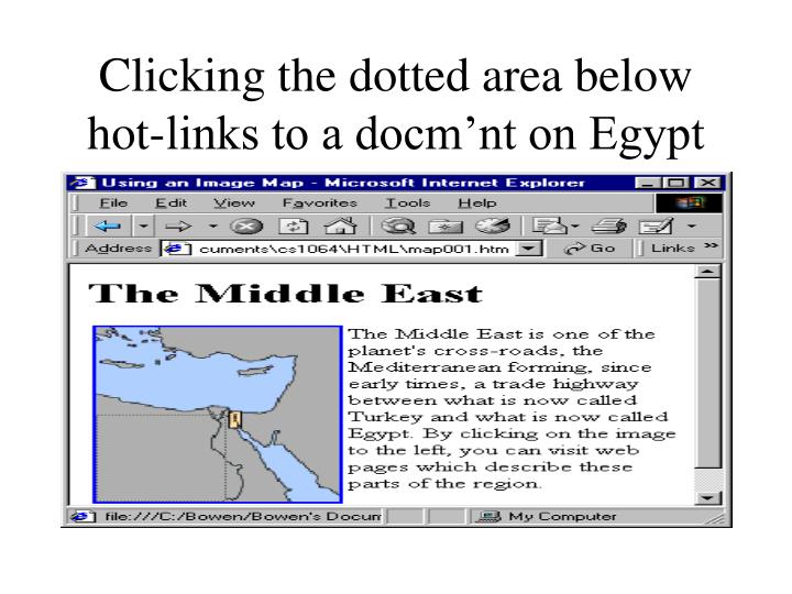 Clicking the dotted area below hot-links to a docm'nt on Egypt