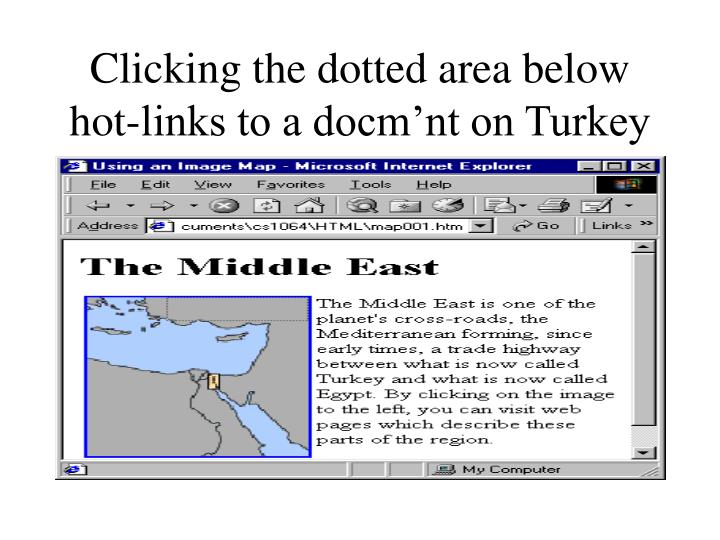 Clicking the dotted area below hot-links to a docm'nt on Turkey