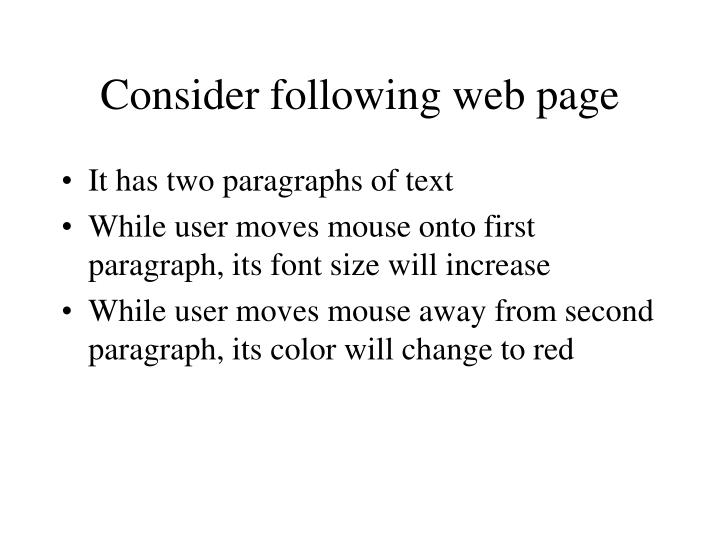 Consider following web page