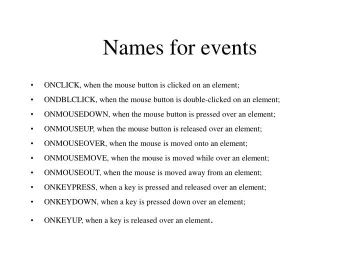 Names for events
