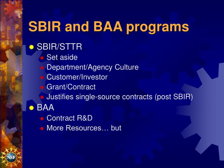 SBIR and BAA programs