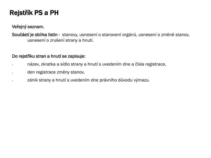 Rejstřík PS a PH