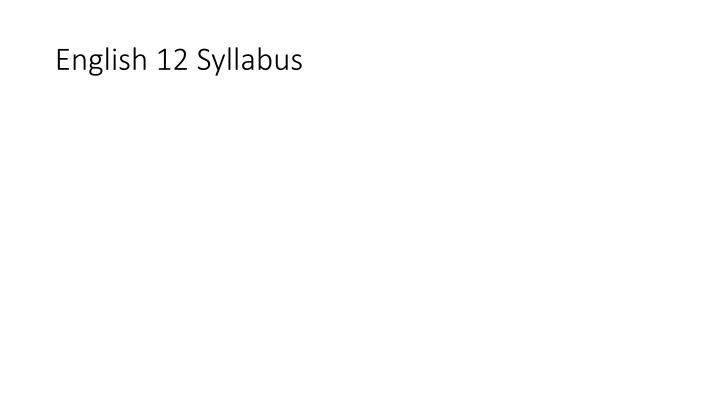English 12 Syllabus