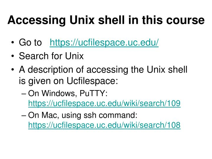Accessing Unix shell in this course