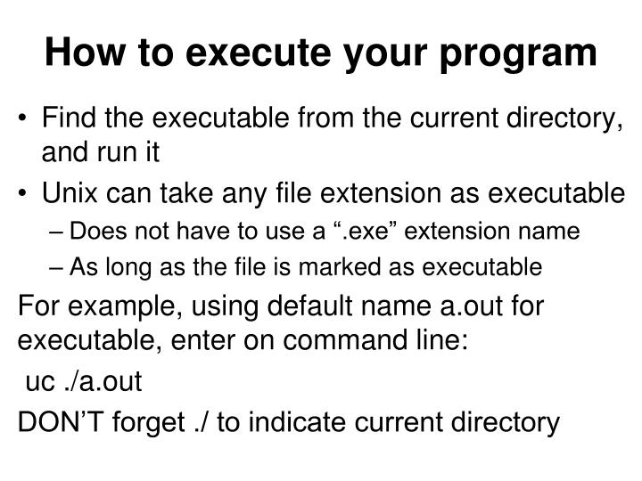 How to execute your program