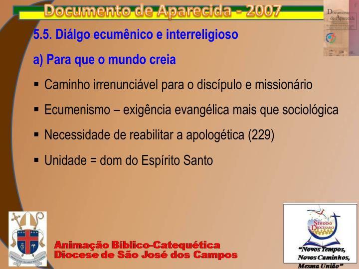 5.5. Diálgo ecumênico e interreligioso